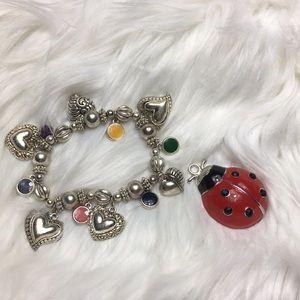 """Heart scroll, 10"""", silver tone, bracelet. GUC."""